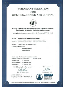 Certificazione European Federation for Welding, Joining and Cutting