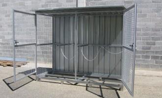 Box porta bombole in lamiera e rete