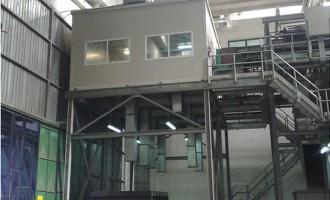 Prefabbricato centrale di controllo montato su struttura in quota